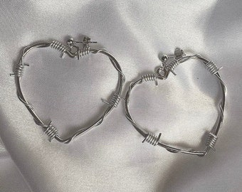 Silver Barbed Wire Heart Earrings / 5cm Barbed Wire Silver Heart Hoop Studs