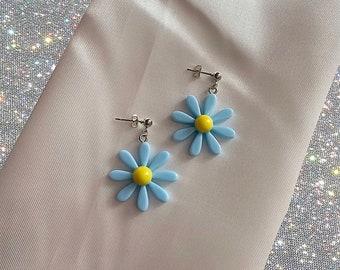 Blue statement daisy earrings