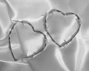 Heart Barbed Wire Hoop Earrings / Large Silver Heart Shaped Hoops
