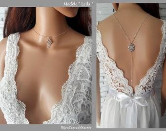silver chain Moroccan back plunging Leila collar Halter Crystal cubic zirconia Collar franco Moroccan wedding
