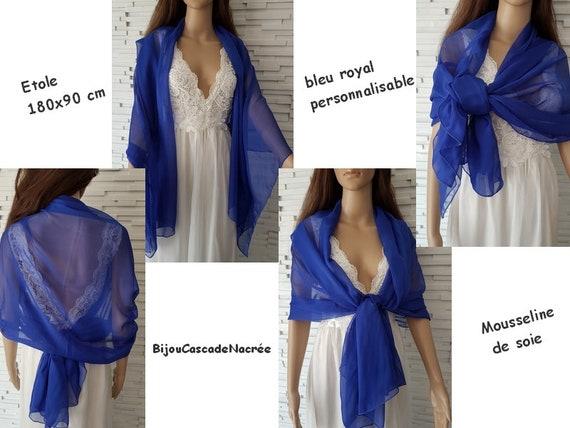 Etole mousseline de soie bleu roi foulard mariage écharpe   Etsy c9e4c5a42b5