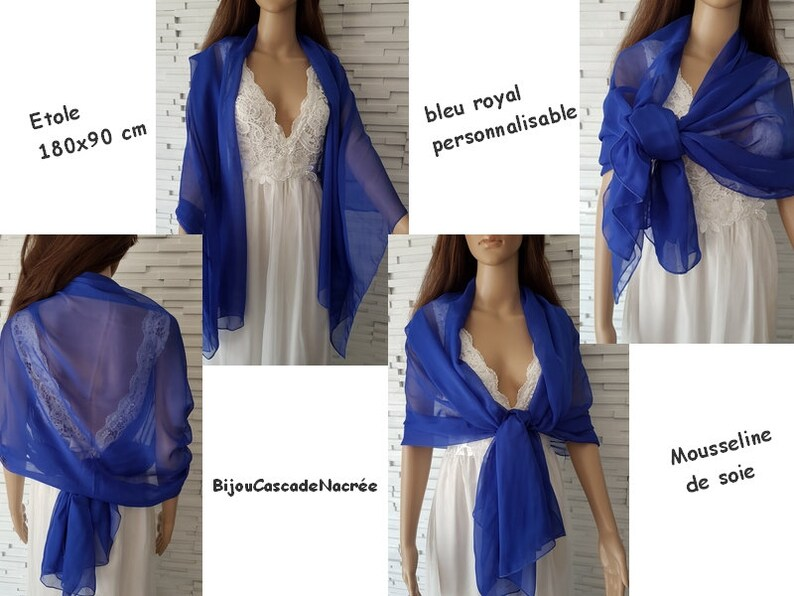 e8fff22b89c Etole mousseline de soie bleu roi foulard mariage écharpe