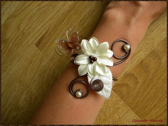 bracelet mariage millie fleur ivoire chocolat papillon feuille etsy. Black Bedroom Furniture Sets. Home Design Ideas
