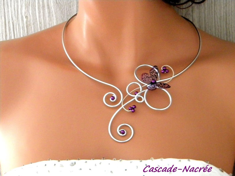 jewelry set Butterfly Steve Purple aluminum bead wedding 3D personalized wedding hand Made in France bridal set