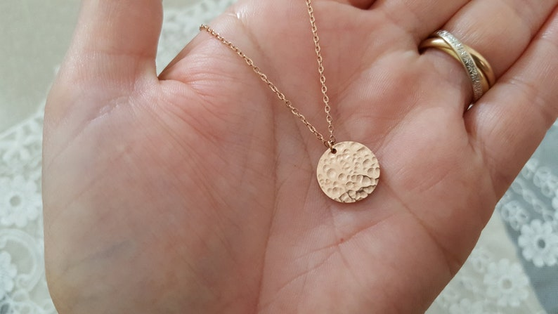 Pink gold necklace filled necklace hammered medallion woman Gold-Filled necklace gold women/'s necklace overlay jewel gift woman France