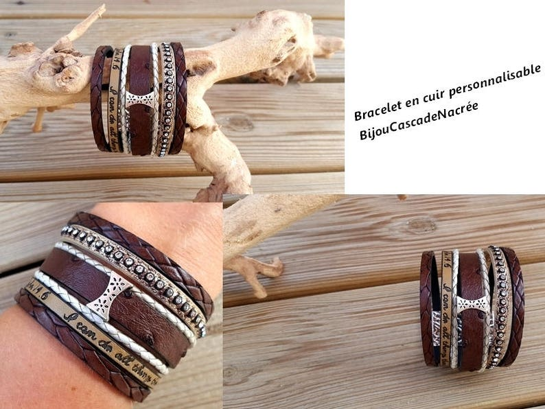 woman leather cuff Brown taupe jewelry designer grey leather bracelet for women winter Christmas gift idea