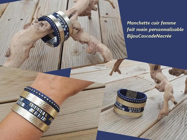 8cc22a26e2380a bracelet cuir manchette cuir femme doré or bleu roi electrique strass  fermoir magnétique idée cadeau