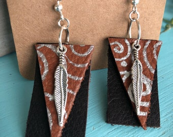 Triangle Leather Feathers