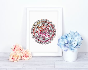 f27ff476f Dotwork Mandala Art Print | Dotwork Illustration | Ink Drawing | Art Print  | Mandala Home Décor | Mandala Wall Art Print | Modern Wall Art