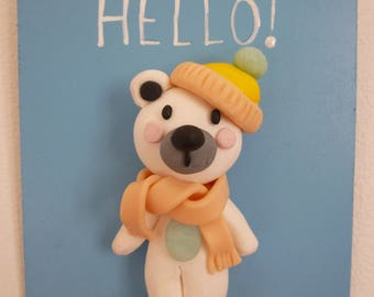 Whiteboard bear Hello!