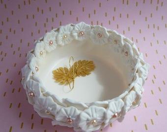 Polymer clay flower jewel cup