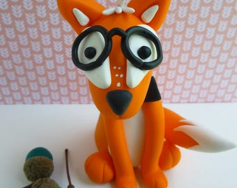 Fox with glasses and bow tie made of polymer clay