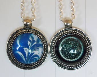 Silver plated glass cabochon necklace