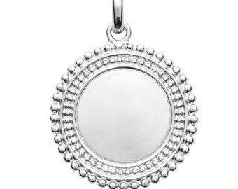 98800fb43ea Pendentif médaille ronde double pointillés à graver personnaliser argent  massif 18 mm bijou personnalisé gravé avec ou sans gravure