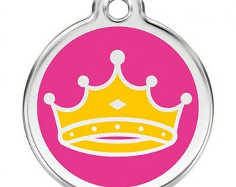 6e56a10e88 Medal for pet dog cat stainless steel round yellow Crown amid pink Princess  Queen custom on the back engraved