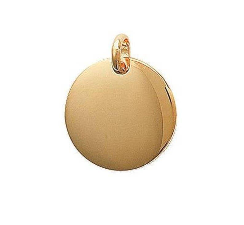 38a28b237f7 Pendentif médaille ronde à graver personnaliser plaqué or 20