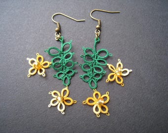 Earrings, tatting, tropical flowers