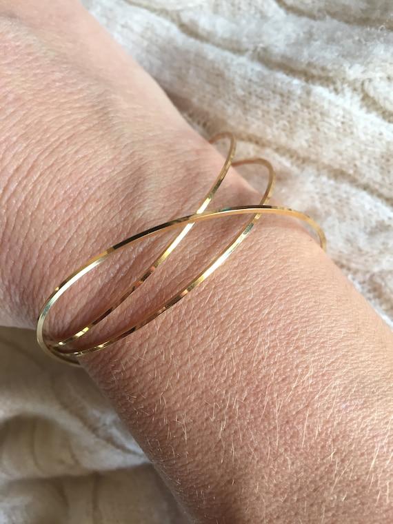 18k gold-plated rigid Jonc bracelet