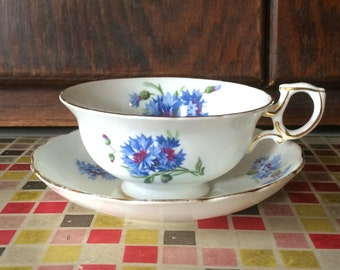 Vintage T.Goode and Co Cup and Saucer Cornflower Blue Pattern no. 6034 - 1940s