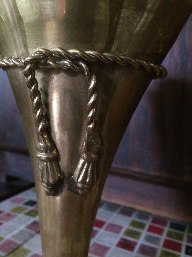 Mid Century A Pair of Vintage Brass Vases with Tassel Detail
