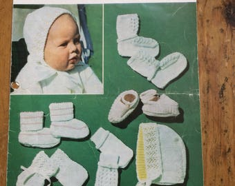 Vintage Bonnet,Shoes,Bootees and Mitt pattern in 3 and 4ply Birth to 6 months