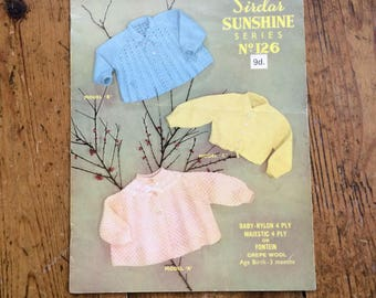 Vintage Sirdar Sunshine Series Baby Matinee Coats and Hug-Me-Tight pattern in 4ply - design no. 126