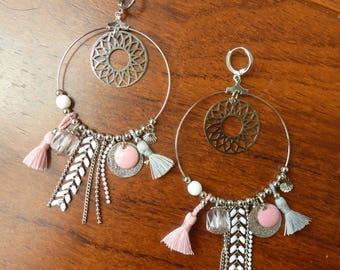 Dangle hoop earrings pink white and silver