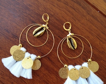 Gold Sequins and white tassel earrings