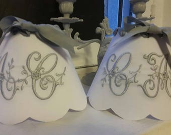 Vintage fabric Lampshade and Monogram