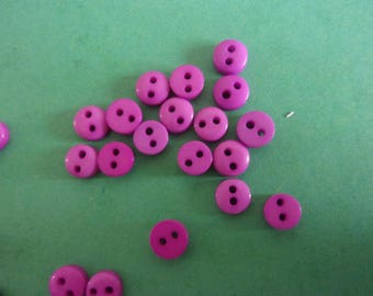 Set of 5 mini buttons purple 6 mm dark resin, 2 holes-