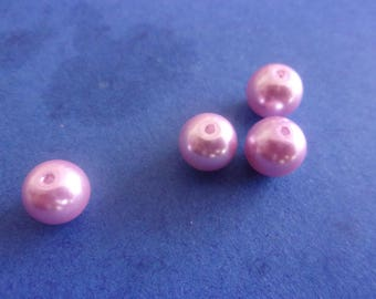 Pink Pearlescent - round glass beads 8mm
