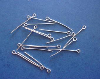 Set of 10 silver - 30 mm eye pins