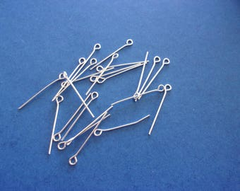 Set of 10 silver - 26 mm eye pins