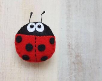 Ladybug brooch ladybird brooch broach pin badge handmade gift felt toys cute felt animals ladybug gift felt ornament felt decoration sweet