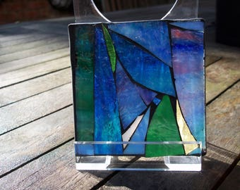 stained glass coaster/suncatcher mosaic blue