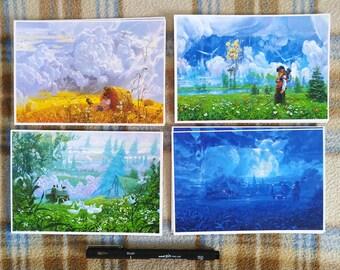 Postcard Pack 2, four Alterslavia postcard-size digital prints by Zhillustrator