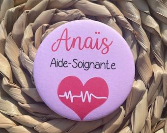 Badge SOIGNANTS 75 ou 58 mm pour infirmière, aide-soignante, sage-femme , médecin, pédiatre Chirurgien