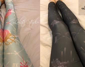 Sweet Classic Lolita Japanese Kawaii Harajuku Alice in Wonderland Two Pairs Tights Pants Leggings Set [S32]
