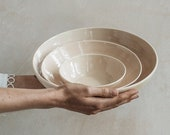 Raw Plaster pale pink shallow nesting serving bowl set - handmade pottery set - serving dish set - hand thrown bowl - tableware - ceramics