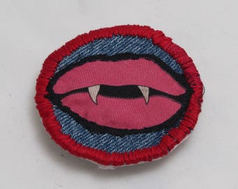 Vampire Kiss Halloween Customised Thread Color Iron On Patch