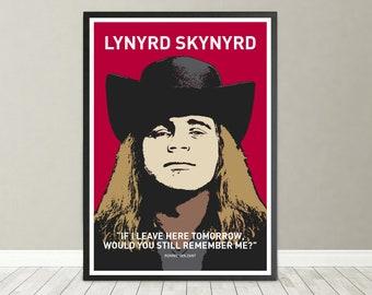Lynyrd Skynyrd. Ronnie Van Zant portrait. Free Bird Southern Rock 1970s.  Digital Print. Steve Gaines f88a0ba95b7e9