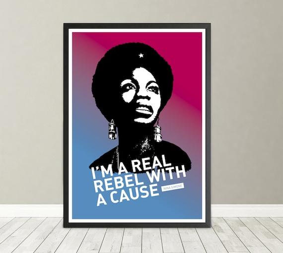 Portrait De Nina Simone Affiche De Citation Chanteur Américain Auteur Compositeur Interprète Au Sein Du Mouvement Des Droits Civiques