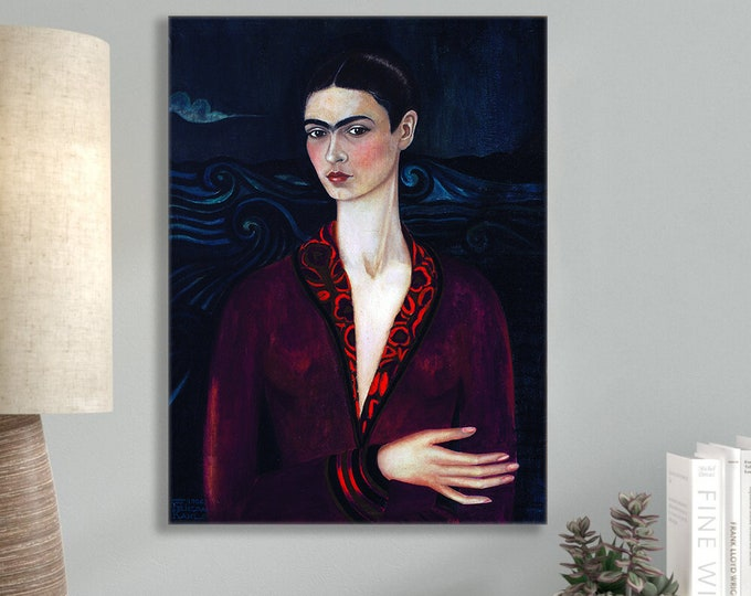 Featured listing image: Frida Kahlo Self-Portrait in a Velvet Dress (1926) Masterpiece Reproduction Printed in Refined Aluminum