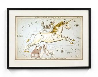 Monoceros, Canis Minor, and Atelier Typographique Constellation (Urania's Mirror) Wall Art
