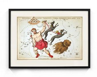 Boötes, Canes Venatici, Coma Berenices, and Quadrans Muralis Constellation (Urania's Mirror) Wall Art