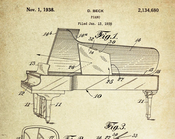 Piano Patent Poster Wall decor (1938 by D. Beck)