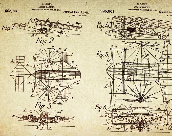 Aerial Machine/ Plane  Patent Poster wall decor (1911 by E Losse)