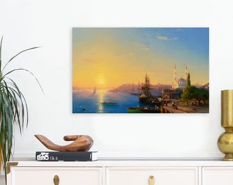 View of Constantinople (1849) by Ivan Aivazovsky Masterpiece Reproduction Printed in Refined Aluminum