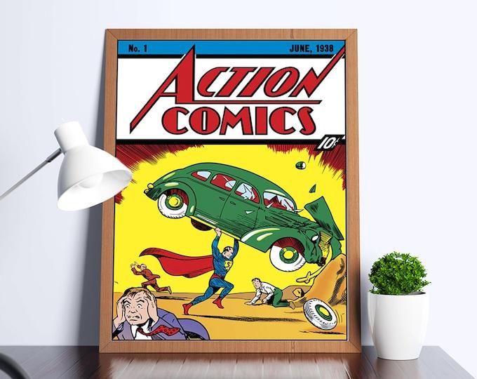 Action Comics #1 Vintage Comic Art Poster