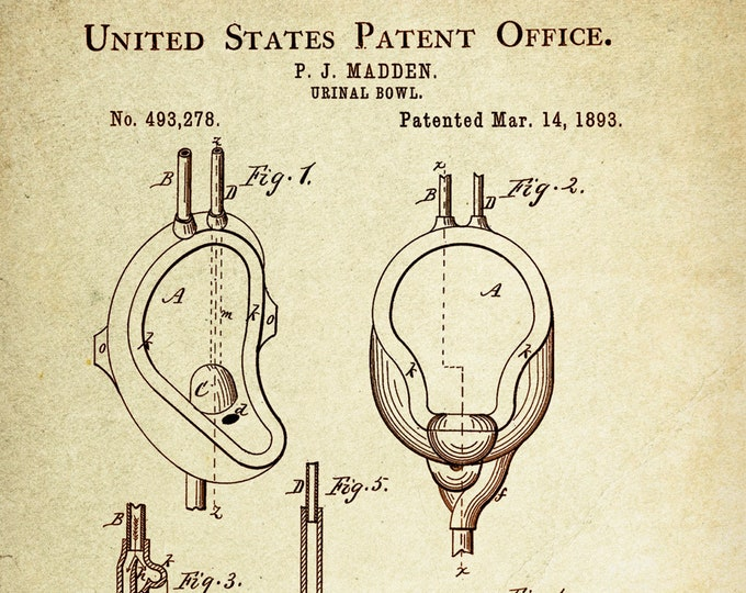 Urinal Bowl Patent Poster wall decor (1893 by P.J Madden)